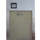"""W"" Series fifteen inch by eighteen inch Bottom hinged chute intake door with panel for recycling system"