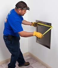 measuring trash chute intake door